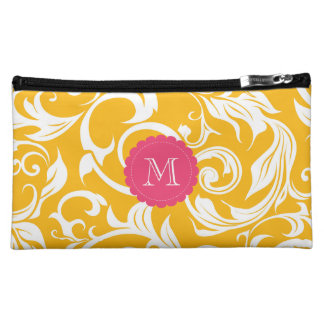 Yummy Citrus Orange Floral Scroll Monogram Cosmetic Bag