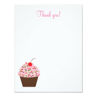 Yummy Cupcake 4x5 Flat Thank you note 11 Cm X 14 Cm Invitation Card