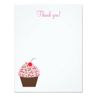 "Yummy Cupcake 4x5 Flat Thank you note 4.25"" X 5.5"" Invitation Card"