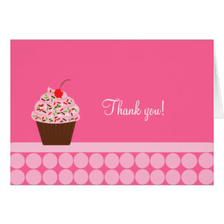 Yummy Cupcake Folded Thank you notes Note Card