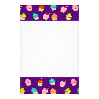 Yummy Cute Cupcakes On Purple Personalized Stationery