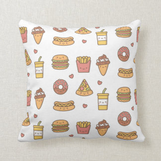 Yummy Cute Fast Food Doodles Pattern Throw Pillow