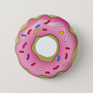 Yummy Donut with Icing and Sprinkles 6 Cm Round Badge