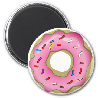 Yummy Donut with Icing and Sprinkles 6 Cm Round Magnet