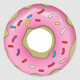 Yummy Donut with Icing and Sprinkles Round Stickers