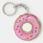 Yummy Doughnut with Icing and Sprinkles Basic Round Button Key Ring