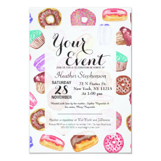 Yummy Hand Painted Watercolor Desserts Card