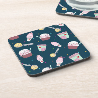 Yummy ice cream treat pattern blue plastic coaster