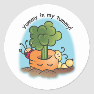 Yummy in my belly! classic round sticker