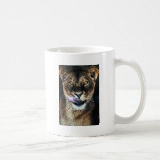 Yummy - lioness licking basic white mug