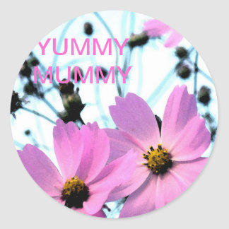 """YUMMY MUMMY "" FLORAL PRODUCTS ROUND STICKER"