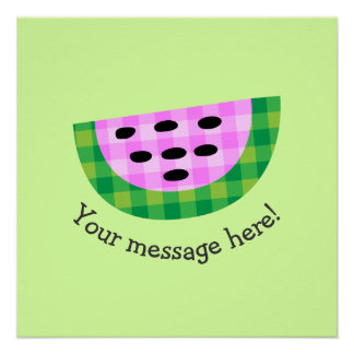 Yummy Neon Plaid Watermelon Slice Icon
