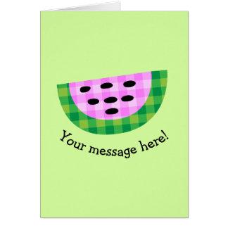 Yummy Neon Plaid Watermelon Slice Icon Card