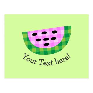 Yummy Neon Plaid Watermelon Slice Icon Postcard