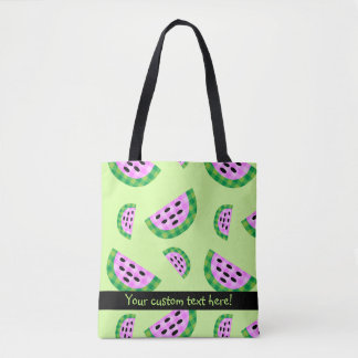 Yummy Neon Plaid Watermelon Slice Pattern Tote Bag