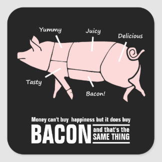 Yummy Pink Pig Money Bacon and Happiness Square Sticker