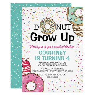 Yummy Scrummy 'Doughnut Grow Up' Kids Birthday Invitation