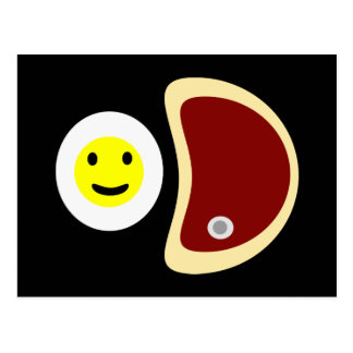 Yummy Steak and Eggs Postcard