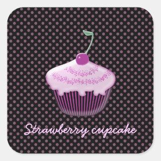 yummy strawberry cupcake square sticker