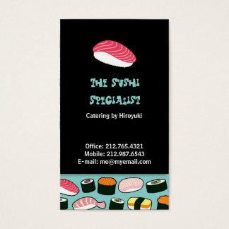 Yummy Sushi Fun Illustrated Pattern Business Card