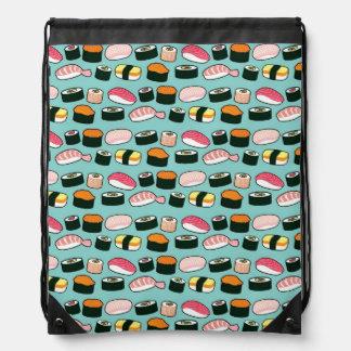 Yummy Sushi Fun Illustrated Pattern Drawstring Bags