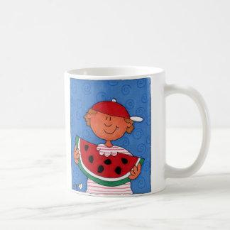 Yummy Watermelon Boy Folk Art Classic White Mug