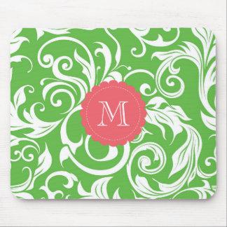 Yummy Watermelon Green Monogram Floral Wallpaper Mouse Mat