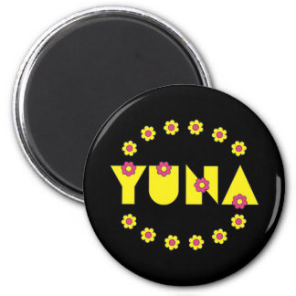 Yuna in Flores Yellow 6 Cm Round Magnet