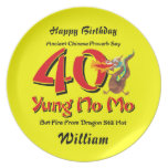 Yung No Mo 40th Birthday Dinner Plate