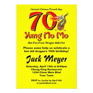Yung No Mo 70th Birthday Personalized Invitations