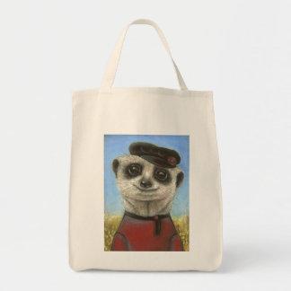 Yuri the meerkat canvas bags