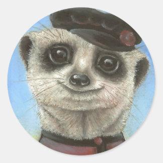 Yuri the meerkat round sticker