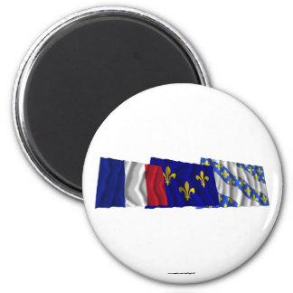 Yvelines, Île-de-France & France flags 6 Cm Round Magnet