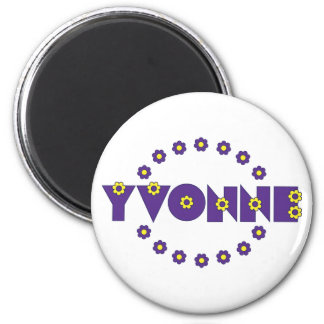 Yvonne In Flores Purple 6 Cm Round Magnet