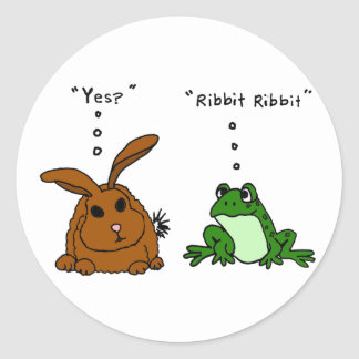 YY- Funny Rabbit and Frog Cartoon Round Stickers