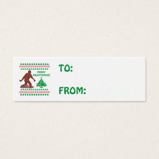 Z Bigfoot Walking Sasquatch Christmas Gift Tag