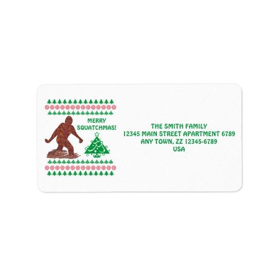 Z Bigfoot Walking Sasquatch Funny Christmas Label