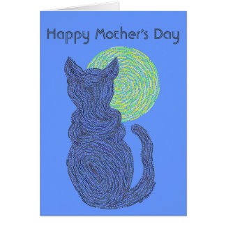 Z Black Cat & Moon Happy Mothers Day Love The Cat Card