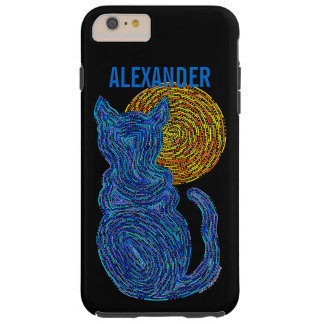 Z Blue Cat And The Moon Cat Lover Feline Kitten Tough iPhone 6 Plus Case