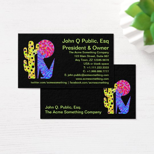z Blue Coyote Southwestern Style Colourful Business Card