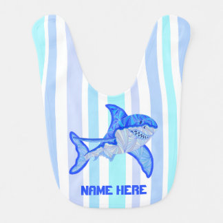 Z Blue Great White Shark Colorful Sea Stripes Bibs