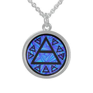 Z Blue Mystical Platos Air Sign New Age Triad Round Pendant Necklace