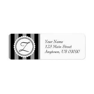 Z Candy Striper Monogram Address Labels (Black)