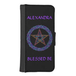 Z Colorful Pentagram Pagan Wicca Blessed Be Wallet