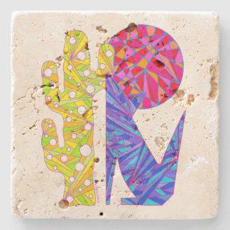 Z Coyote Wolf Colorful Southwestern Art Design Stone Beverage Coaster