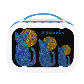 Z Custom Blue Cat And The Moon Art Lunch Tote Lunchboxes