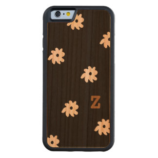 Z custom initial with flowers on wood cherry iPhone 6 bumper