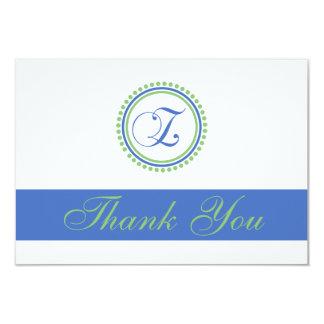 Z Dot Circle Monogam Thank You Cards (Blue / Mint) Custom Announcement