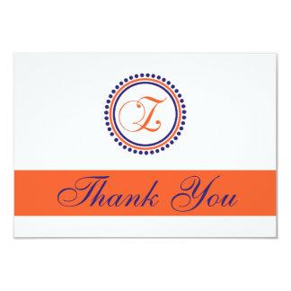 Z Dot Circle Monogam Thank You (Orange/Navy Blue) Invites