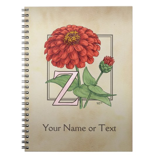 Z for Zinnia Flower Alphabet Monogram Notebooks